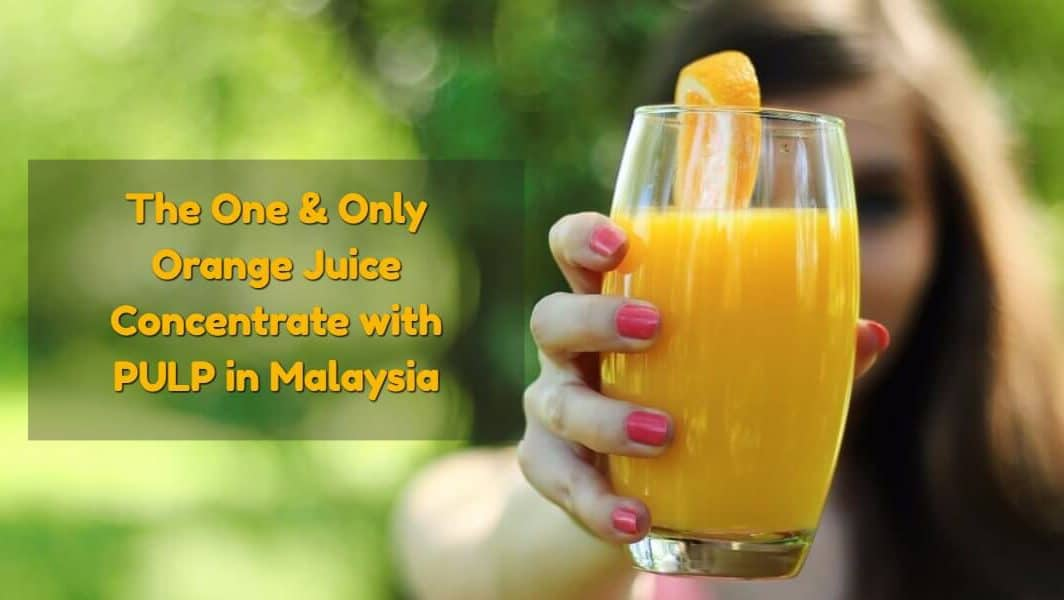 Orange juice with pulp, tasty and fortified with vitamin C